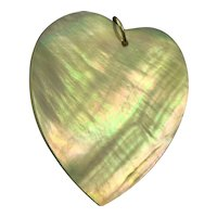 Large Mother of Pearl Heart Pendant 14K Gold Bale