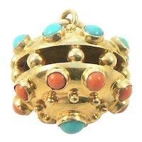 18K Gold Coral Turquoise Italian Charm Pendant
