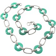 Art Deco Chrysoprase Sterling Silver Necklace