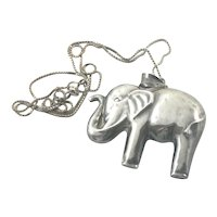 Puffy Elephant Pendant on Chain Sterling Silver