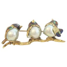 18K Gold Enamel Bird Pin Italy