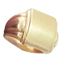 18K Gold Signet Ring Italy