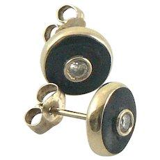 Diamond Enamel 14K Gold Stud Earrings