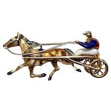18K Gold Enamel Harness Racing Pin Italy