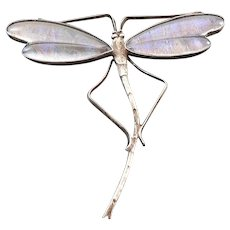 Antique Butterfly Wing Dragonfly Sterling Silver