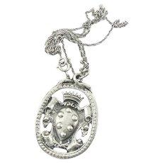 Italian Sterling Silver Peruzzi Style Shield Pendant on Chain