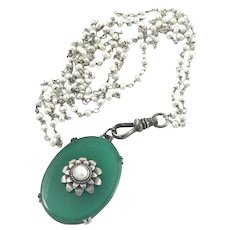 Chrysoprase Sterling Silver Pendant Necklace on Pearl and Sterling Chain