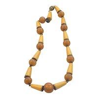 Delightful Amber Bakelite Conical Bead Necklace