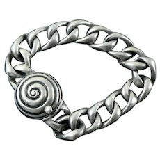 Sterling Silver ID Bracelet with Spiral Centerpiece
