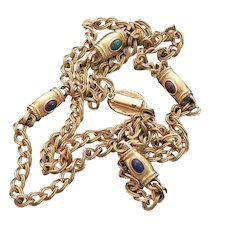 Gold Tone Fashion Chain with Glass Stone Stations 1980s