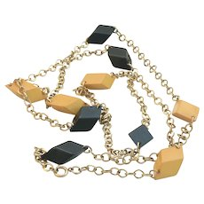 Bakelite Black and Yellow Chain Necklace