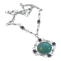 Art Deco Chrome and Glass Pendant Necklace