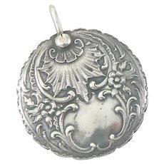 Round Slide Mirror Locket Pendant in 800 Silver