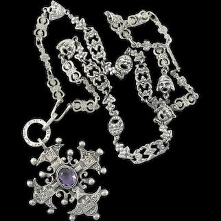 Peruzzi Amethyst Maltese Cross on Masks Chain Sterling