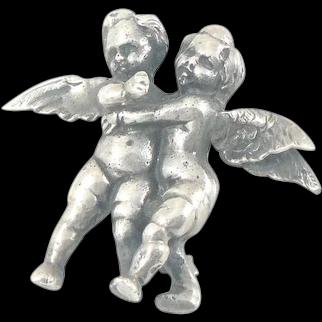 Peruzzi Florence Silver Hugging Angels Brooch