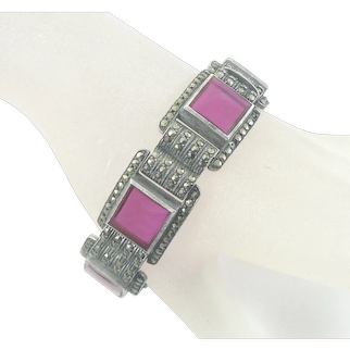 Art Deco Marcasite and Pink Glass Sterling Silver Signed Bracelet