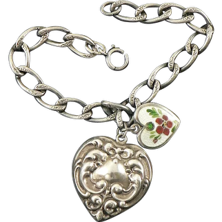 Large Victorian Sterling Heart with Walter Lampl Enamel Heart on Victorian Bracelet