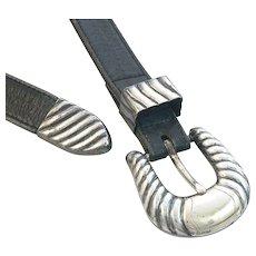 Bohlin Sterling Silver 10K Gold Ranger Buckle Set and Belt