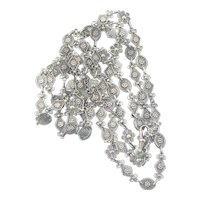 Amazing 800 Silver Filigree Long Guard Chain Muff Chain 60 Inches