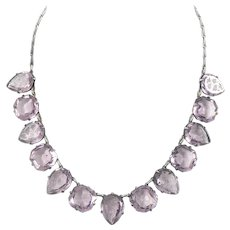 Etched Amethyst Crystal Necklace Set in Sterling Silver