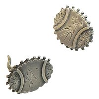 Aesthetic Period Silver Earrings Upcycled Cufflinks