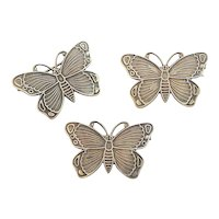 Sterling Silver Butterfly Scatter Pins Set of Three Gold Vermeil