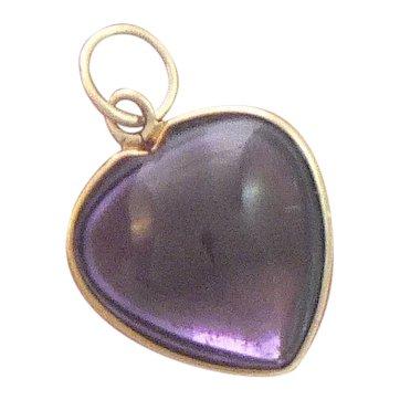 Amethyst Cabochon Heart Charm 14K Gold