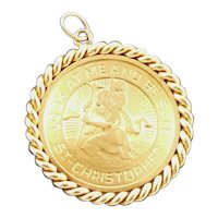 14K Gold St. Christopher Charm Medallion