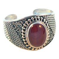 Suarti Sterling Silver Carnelian Cuff Bracelet