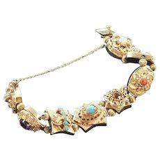 14K Gold Slide Large Charm Bracelet Amethyst Turquoise Pearls Coral Opal Citrine Garnet
