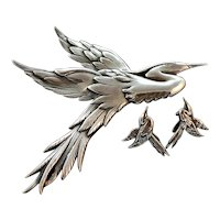 Danecraft Giant Heron Egret Bird Sterling Silver Brooch and Earrings Suite