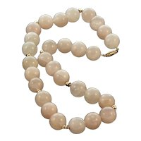 Rose Quartz and 14K Gold Bead Necklace