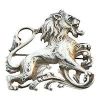 Cini Zodiac Lion Brooch Pin Leo Sterling Silver