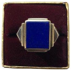 14K Gold Lapis Gents Unisex Ring