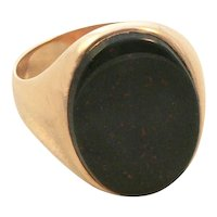 Bloodstone 14K Gold Ring Heliotrope