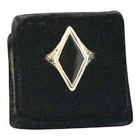 14K Gold Onyx Art Deco Filigree Ring