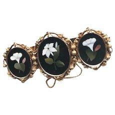 Victorian 14K Gold Pietra Dura Bracelet
