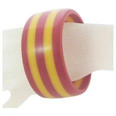 Laminated Bakelite Bangle Bracelet Red and Yellow Wide