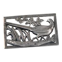 Coro Sterling Silver Pheasant Brooch