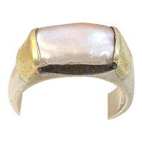 18K Gold and Sterling Silver Blister Pearl Stacking Ring Modern Handcrafted