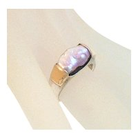 Two 14K Gold and Sterling Silver Stacking Rings with Blister Pearls Handcrafted Modernist