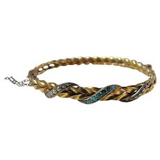 Victorian 9CT Gold Turquoise Seed Pearl Bangle Bracelet