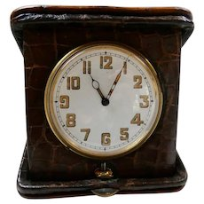Art Deco Swiss Travel Clock in Alligator Case