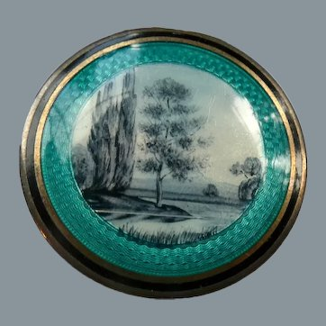 Antique French Grisaille Guilloche Enamel Sterling Silver Compact Patch Box
