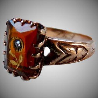 Antique Victorian 14K Gold Rose of Sharon Citrine Ring