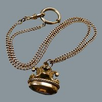 Antique Victorian Gold Filled Amethyst Glass Fob Chain Necklace