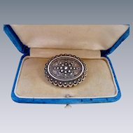 Antique Victorian Sterling Silver Etched Brooch