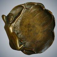 Art Nouveau Bronze Nude Card Vanity Tray