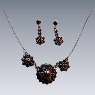 Antique Victorian Bohemian Garnet Necklace Earring Set