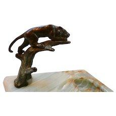 Art Deco Bronze Panther on Onyx Trinket Dish Germany
